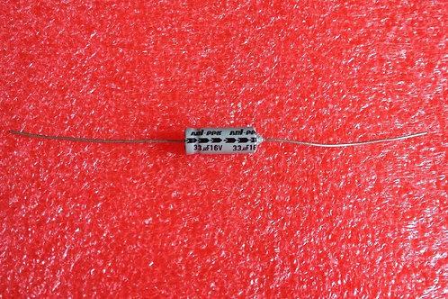 10 PCS CAP ALUM ELEC 33UF 33MF 16V AXIAL CAPACITOR (REPLACING FOR 10V )