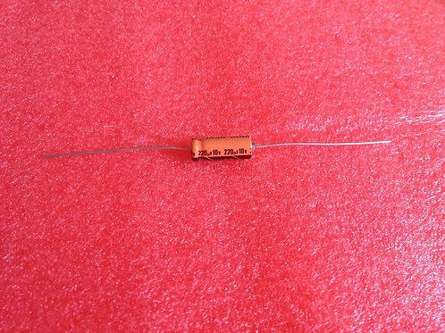 10 PCS CAP ALUM ELEC 220UF 220MF 10V 20% AXIAL (REPLACING FOR 6V 4.3V )
