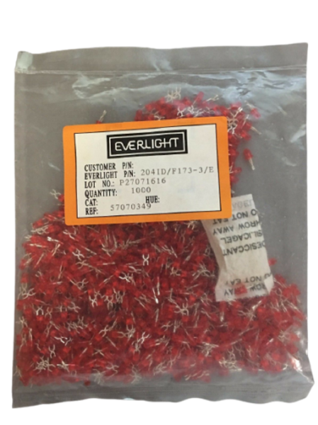 1000 Pcs 3mm Red LED Through Hole Hi-Eff Red Diffused 625nm 12.6mcd