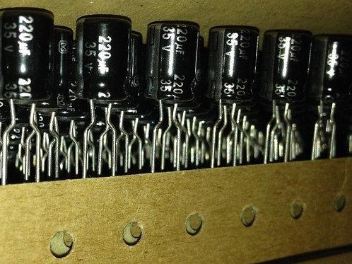 12 PCs Panasonic Cap AL 220uF 220MF 35V 105° (REPLACEMENT OF 25V 16V 10V 6.3V )
