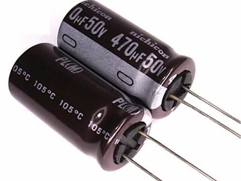100 PCs Nichicon Capacitor 50V 470UF 25x12.5 105C 5mm LEAD SPACE Original Cap