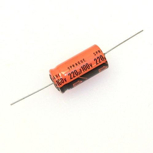 5 PCs SPRAGUE AL CAP 100V 220UF AXIAL 13X26mm CAPACITOR 85C