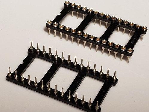 5 PCS 28 PIN DIP Machine Tooled Solder Tail LOW PROFILE IC SOCKET ROUND HOLE