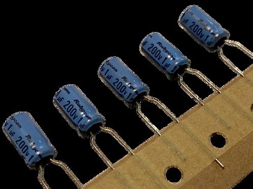 10 PCS ALUM CAPACITOR 1MF 1UF 200V (REPLACING FOR  160V 100V 63V )