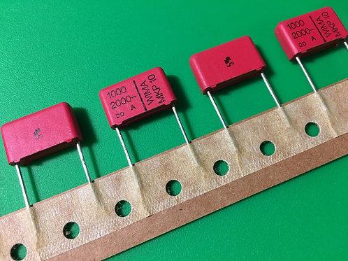 5 PCS WIMA Film Capacitor 1000pF 1NF 0.001UF 10% 2000V DC 400V AC ORIGINAL OEM