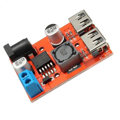 Dual USB 9V /12V /24V /36V to 5V 3A DC-DC car charger power supply module