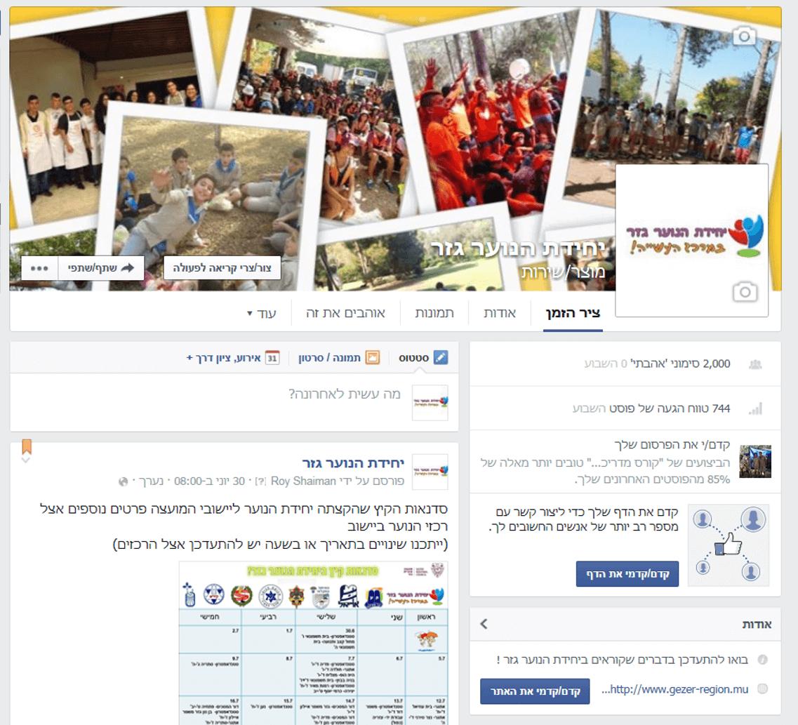 פייסבוק - יחידת הנוער גזר