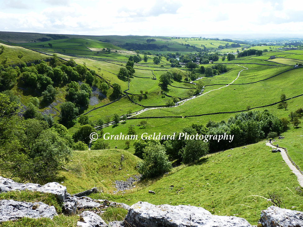 malham, malham cove, yorkshire, yorkshire dales, dales, landscape, green, view, top, mountain, valley, pasture, fell, hill, natural landscape, grassland, mountainous landforms, highland, rural area