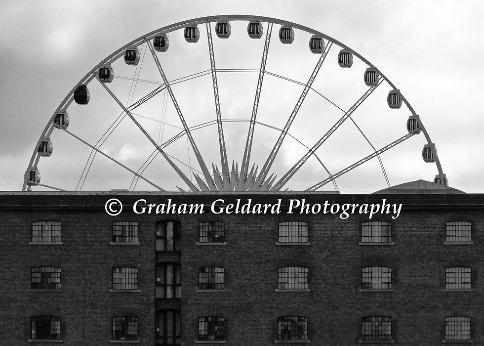 albert, dock, liverpool, albert dock, architecture, fair, big wheel, fairground, mono, Architecture Photography, Liverpool Photography, Architecture Photography For Sale, Buy Architecture Photography