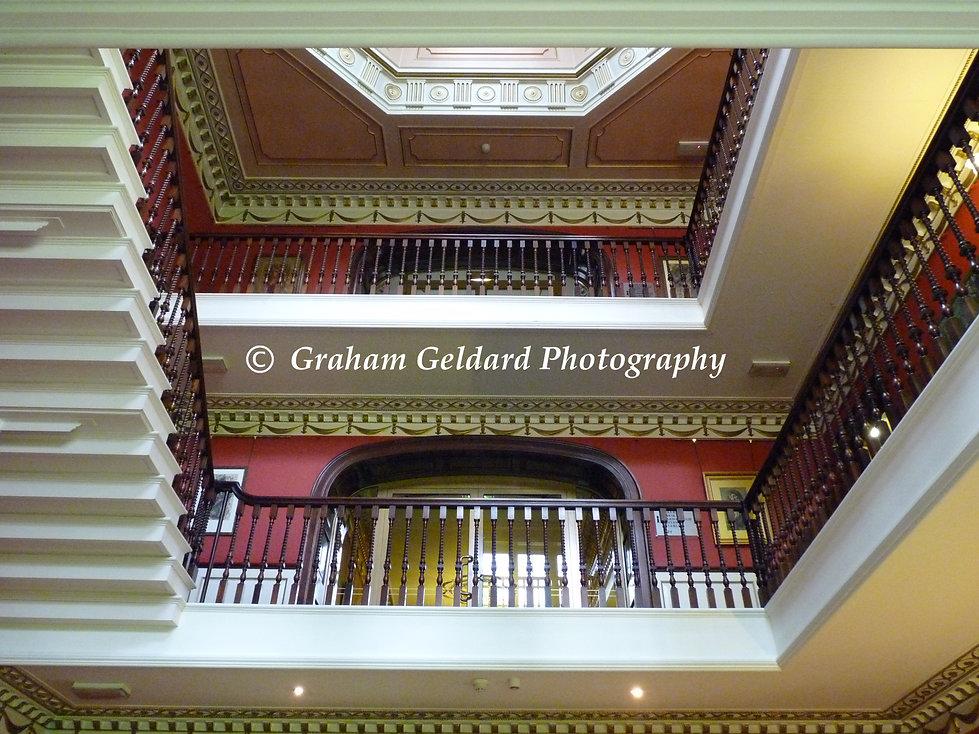 Architecture, Interior Architecture, Staircase, Swinton Park, Masham, Yorkshire, North Yorkshire, Architecture Photography, Interior Architecture Photography, Stairs, Staircase, Balcony, Building, Interior, Red, Pink