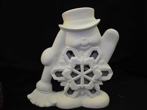 Snowman w/flake and broom