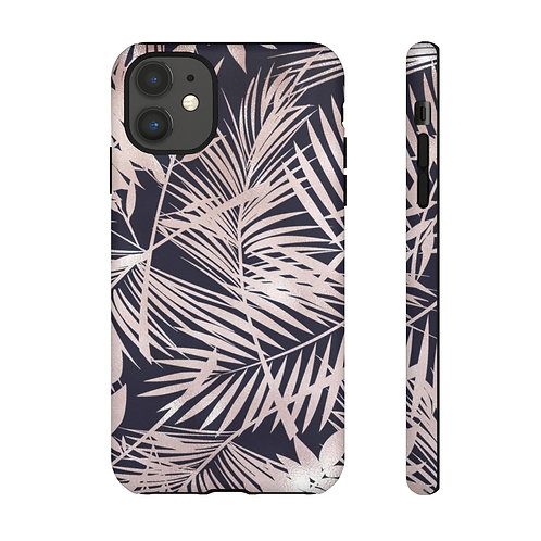 Navy + Rose Gold Tropical Leaves Designer Tough Case