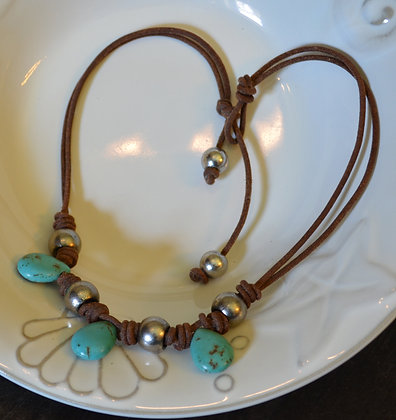 101 Turquoise Necklace w/ Leather & Sterling