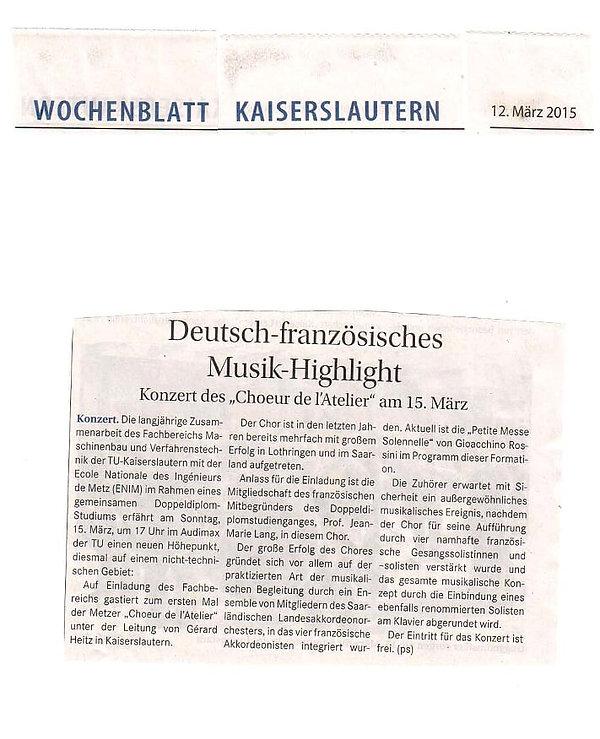 Bericht Wochenblatt Rossini du 15.03.201