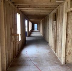 hallway with framing