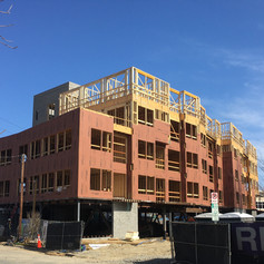 front of building with zip system going on