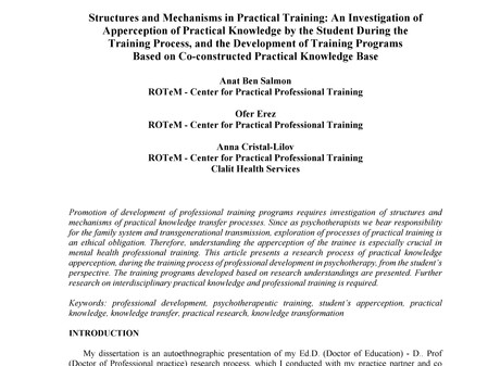 Structures and Mechanisms in practical traning