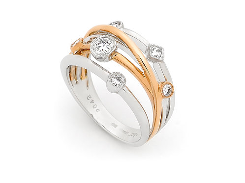 18ct White & Rose Gold Diamond Crossover Ring 1N41-18D