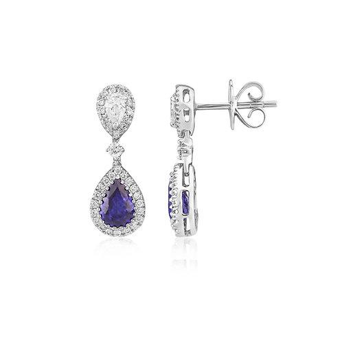 18ct White Gold Diamond & Sapphire Earrings  L8S001