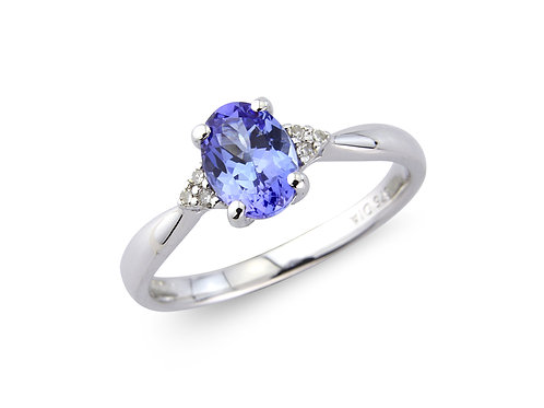 9ct White Gold Diamond & Tanzanite Oval Ring 1W24WDTZ
