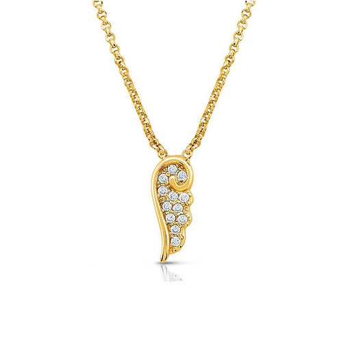 Angel Gold plated sparkling wing necklace 145321/012
