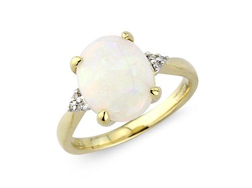 9ct Yellow Gold Opal & Diamond Ring 1W18DOP