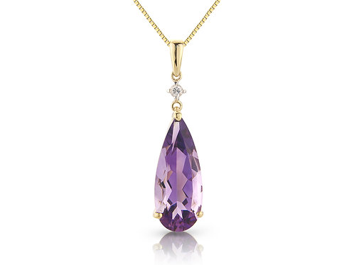 9ct Yellow Gold Amethyst & Diamond Pendant Necklace  6J93DAM