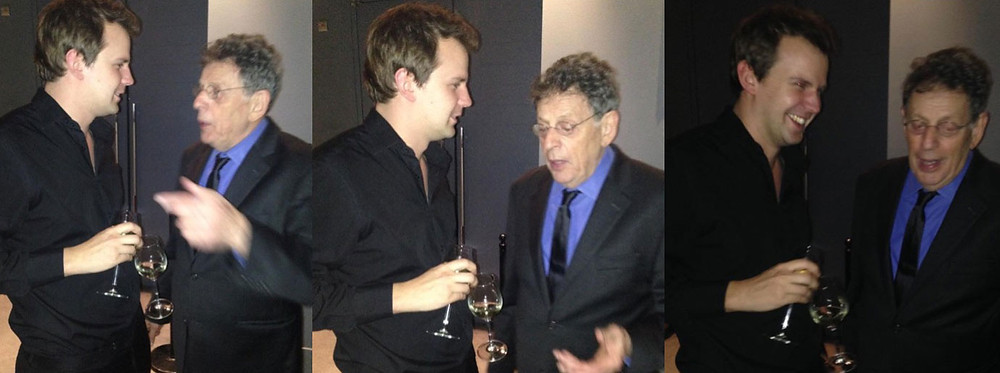 Tim enjoys a post-performance chat with composer Philip Glass