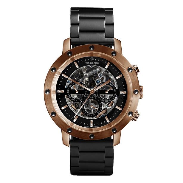 Icarus 3-Dial - Black Rose Gold / Black Link Skeleton Watch £289 SOLD