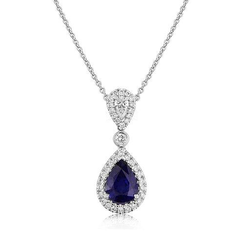 18ct White Gold Diamond & Sapphire Pendant Necklace L6S002