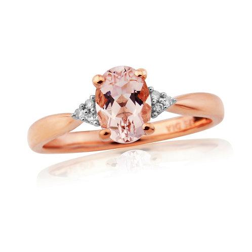 9ct Rose Gold Diamond & Morganite Ring 1W24RDMOR
