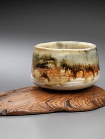 Tea bowl on mangrove stand