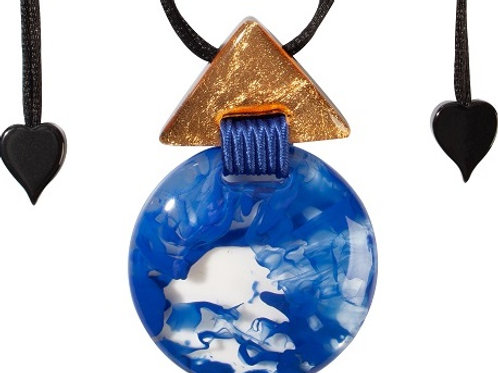 Athena Round Pendant - Blue-Gold