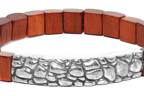 Pattern Wood-Metal Strech Bracelet