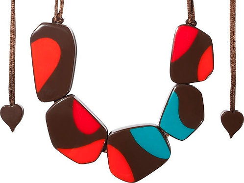 Arte Necklace - Brown-Turquoise