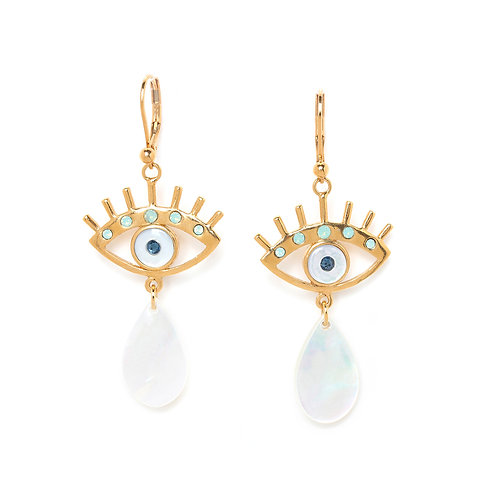 Iris Long Hook Earrings