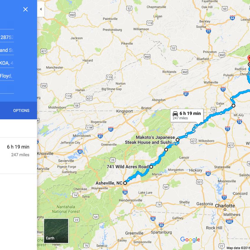 Asheville to Blacksburg