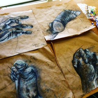 Conte Crayon Studies on Craft Paper