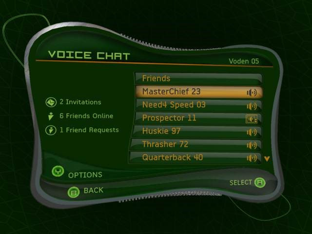 Voice Chat page on XBL 1.0