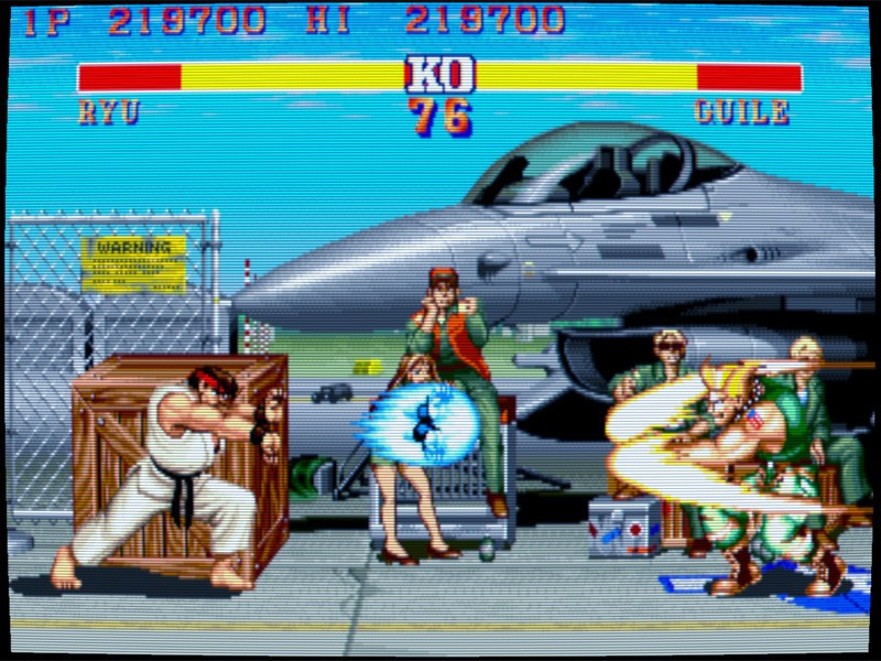 Emulated Street Fighter II with CRT filter applied.