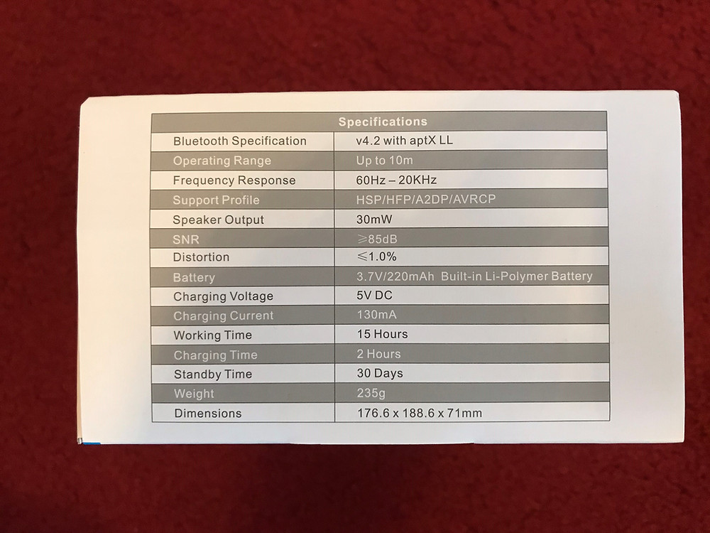 EP650 Bluetooth wireless headphones Technical specifications as listed on box