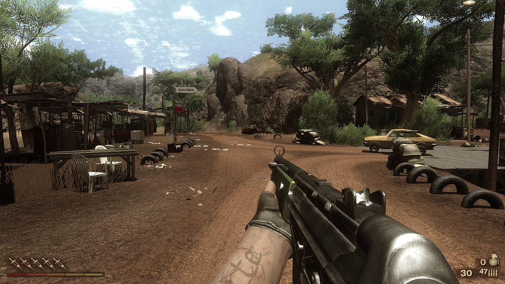 Far Cry 2. A great game marred by poorly designed respawn mechanics
