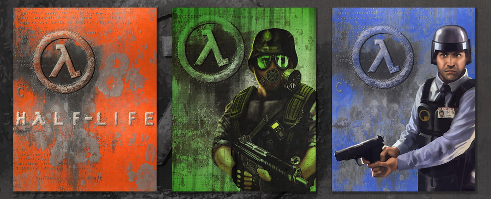Box art of Half-Life and its expansion packs Opposing Force and Blue Shift