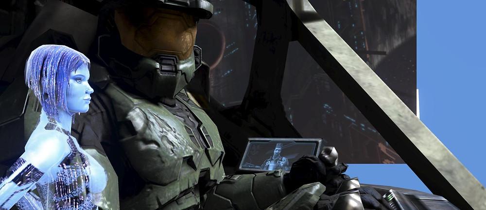 The Master Chief, Sgt. Johnson and Cortana discuss tactics
