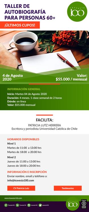 TALLER DE AUTOBIOGRAFÍA PARA PERSONAS 60+