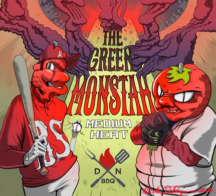 Green Monstah Hot Sauce Label