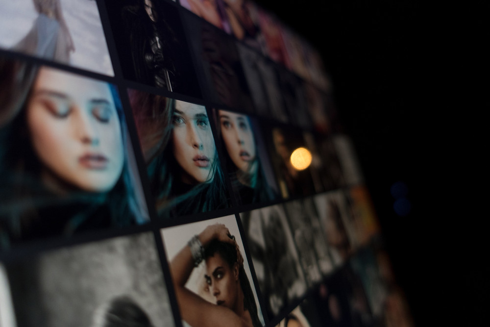 Woman in several pictures across screen