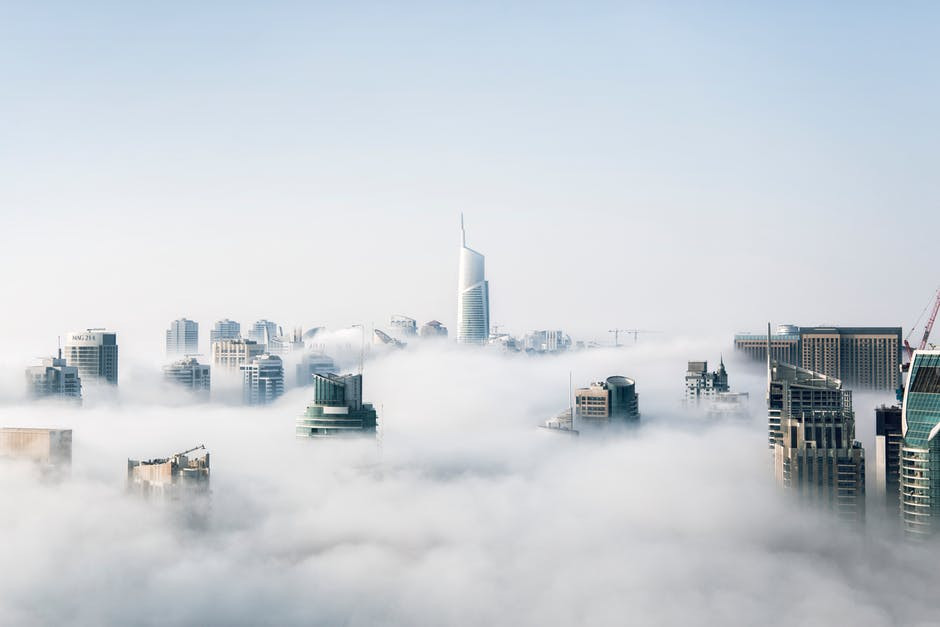 Business buildings in the clouds