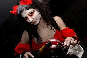 Soirée, diable, costume, halloween, champage, coupe, flute, serveuse, tentation, rouge