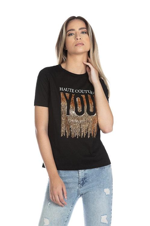 Relish - T-shirt mezza manica con stampa e pailettes oro